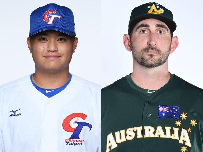 世界12強棒球賽複賽中華隊16日將在東京巨蛋交手澳洲隊,派出胡智為(左)先發,對決澳洲隊37歲側投老將如茲克(右)。(圖取自facebook.com/WBSC)