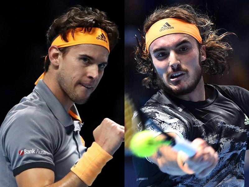 21歲的西西帕斯(右)17日擊敗奧地利好手提姆(左),拿下ATP世界巡迴年終賽。(圖取自twitter.com/atptour)