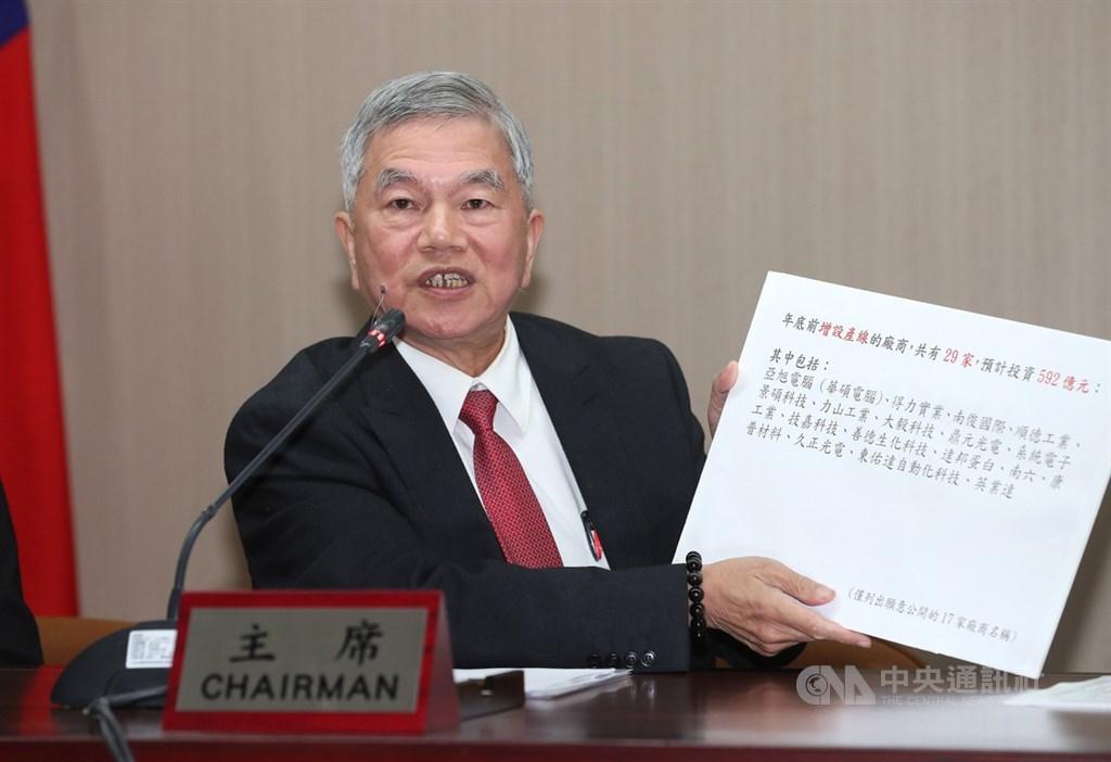 經濟部長沈榮津19日針對台商回流議題在台北召開記者會,他拿著手板表示,年底前增設產線的廠商有29家,預計投資新台幣592億元。中央社記者張皓安攝 108年11月19日