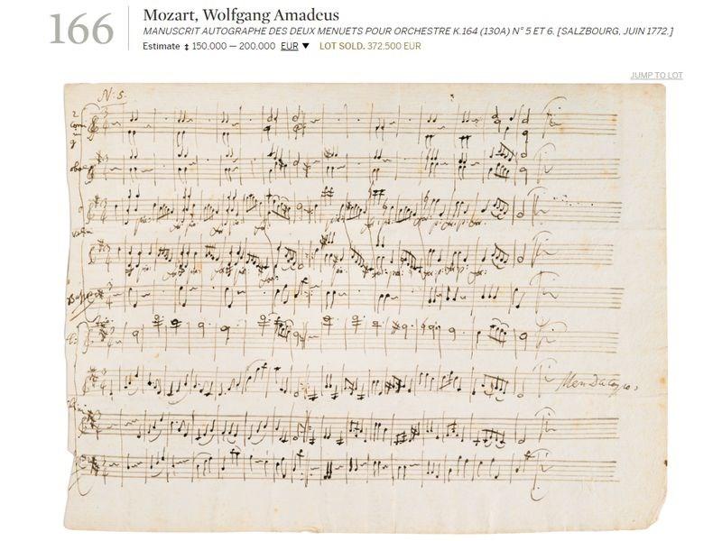 「音樂神童」莫札特16歲時創作的2分鐘樂譜手稿18日高價拍出,以37萬2500歐元(約新台幣1260萬元)落槌。(圖取自蘇富比網頁sothebys.com)