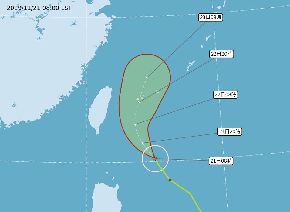 中央氣象局指出,21日受颱風外圍環流影響,北部及東半部地區會有短暫降雨。(圖取自中央氣象局網頁cwb.gov.tw)