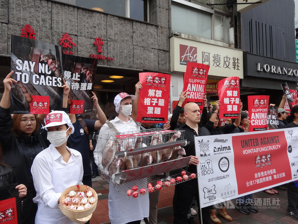 讓雞展翅國際聯盟(OWA)的動保組織22日同步在鼎泰豐美國及台灣信義門市抗議,訴求改用非籠飼雞蛋。中央社記者楊淑閔攝 108年11月22日