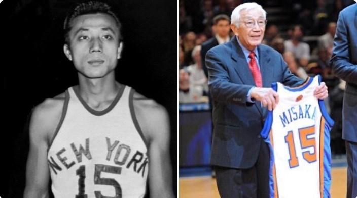 美國猶他大學表示,首位征戰美國職籃NBA前身BAA的非白人和亞裔球員三阪亙20日辭世,享壽95歲。(圖取自twitter.com/nyknicks)