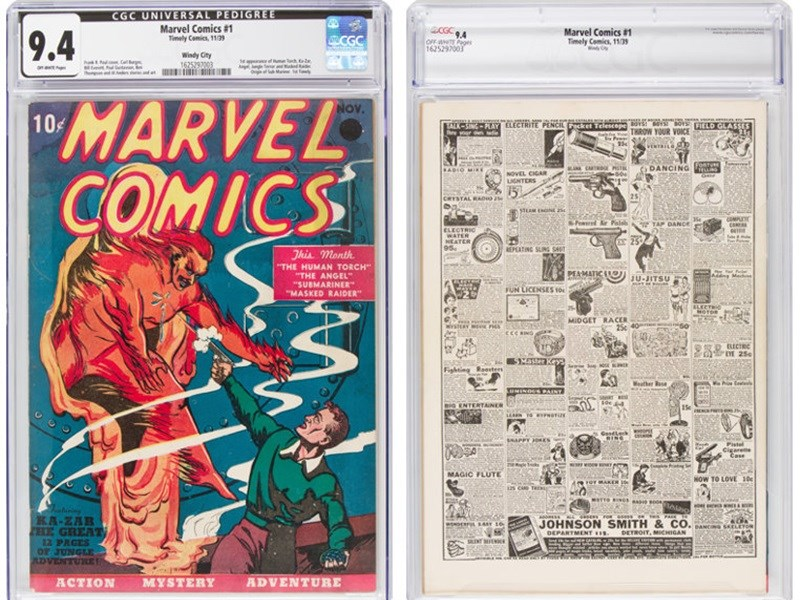 美國超級英雄漫畫發行商漫威(Marvel)21日以約新台幣3800萬賣出首本漫畫。(圖取自傳統拍賣公司網頁comics.ha.com)