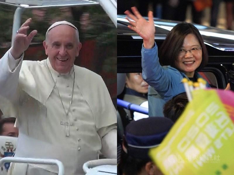 教宗方濟各(左)23日抵達日本訪問,途中教宗向總統蔡英文(右)發電致意,總統也回覆電文,祝福訪日牧靈順利。(中央社檔案照片)