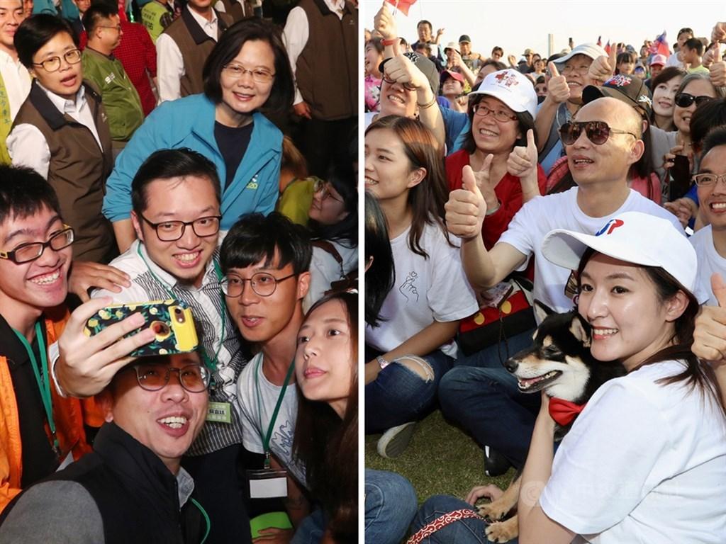 2020選戰進入倒數關鍵時刻,綠營表示,青年是選戰重點,盼爭取年輕族群支持;藍營則表示,將喚醒民眾對蔡政府執政缺失的記憶,並鼓吹韓粉拉票。左圖為總統蔡英文(藍衣者)1日在「與總統談心之夜」與年輕民眾自拍,右圖為國民黨總統參選人韓國瑜(白衣戴墨鏡者)17日出席新北市萌寵音樂嘉年華活動。(中央社檔案照片)