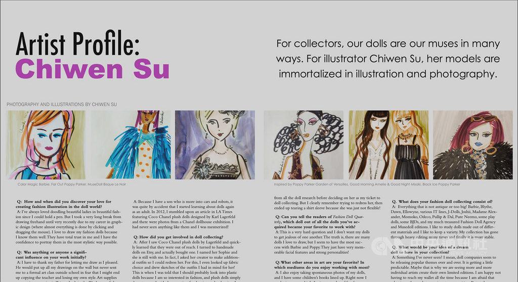 旅居美國的平面設計師蘇琦雯繪出早期芭比和吳季剛設計的「時尚王朝」 (Fashion Royalty) 等系列人偶畫作,被刊登在「時尚娃娃」雜誌(Fashion Doll Quarterly,FDQ)的「藝術家人物」專欄而受到關注。(蘇琦雯提供)中央社記者周世惠舊金山傳真 108年11月24日