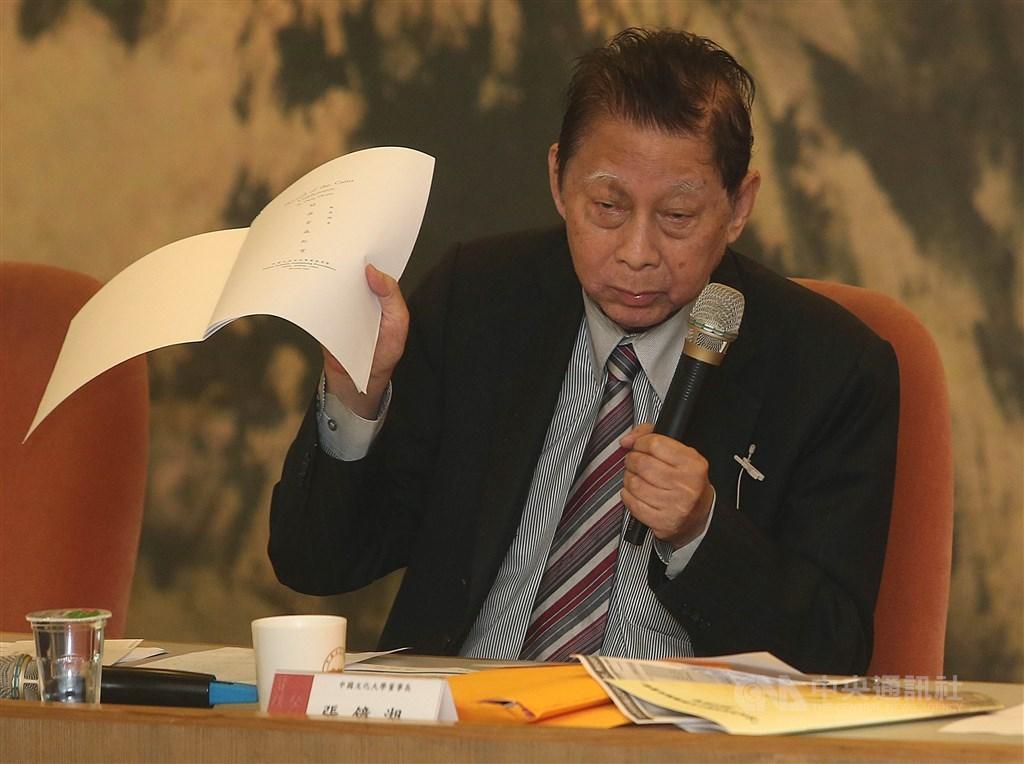 中國文化大學董事長張鏡湖25日辭世,享耆壽92歲,文大人員及華岡校友們獲悉此痛失文大大家長的不幸消息,均表哀傷與不捨。(中央社檔案照片)