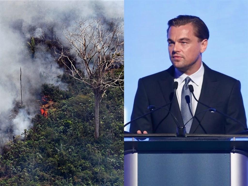 巴西總統波索納洛29日聲稱,國際巨星李奧納多狄卡皮歐(右)的捐款助長引發國際社會關注的亞馬遜雨林火災(左)。(左圖法新社檔案照片/右圖取自facebook.com/LeonardoDiCaprio)