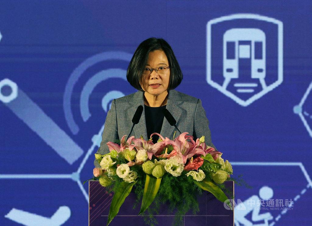 交通部3日在台北國際會議中心舉辦「全國交通科技產業會議」,總統蔡英文上午出席開幕式致詞。中央社記者郭日曉攝 108年12月3日