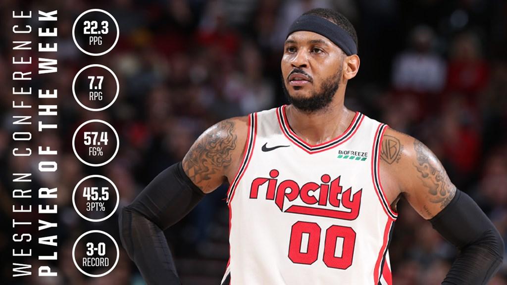 「甜瓜」安東尼重返NBA,獲選NBA上週單週最佳球員。(圖取自twitter.com/trailblazers)