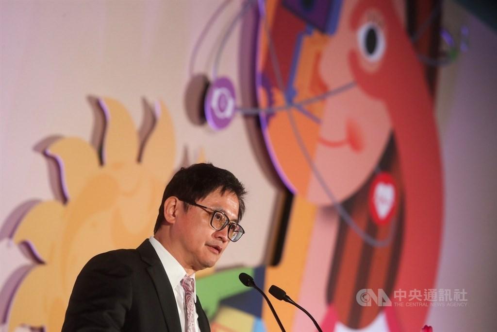 108年資訊月4日到8日在台北世貿一館登場,4日舉辦開幕儀式,和碩董事長童子賢出席,受邀上台致詞。中央社記者吳家昇攝 108年12月4日