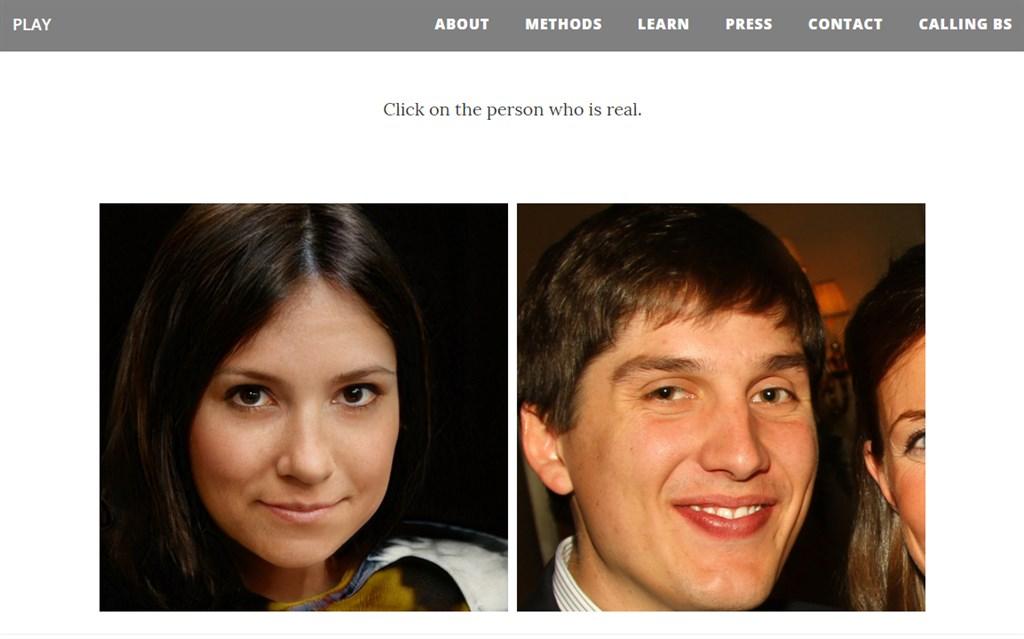 美國華盛頓大學兩位教授設立了名為「哪張是真臉」的網站,利用對照組的相片,邀請民眾判讀真人照與合成照的差別,以此提高對假身分的警戒心。圖為該網站一例。(圖取自哪張是真臉網頁whichfaceisreal.com)