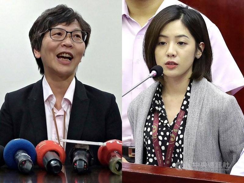 台北市政府顧問蔡壁如(左)與台北市政府副發言人黃瀞瑩(右)分別列台灣民眾黨不分區立委名單第5名、第13名。6日兩人陸續辭職。(中央社檔案照片)