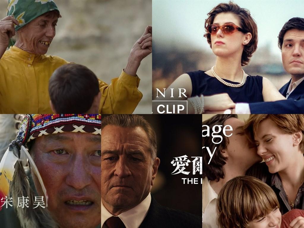 紐約時報影評人史考特選出2019年10部最佳電影,包含「大地蜜語」(上排左起)、「紀念品」、「寄生上流」(下排左起)、「愛爾蘭人」、「婚姻故事」等。(圖取自台北電影節 TaipeiFilmFestival、A24、CatchPlayMovies、Netflix Asia YouTube網頁youtube.com)