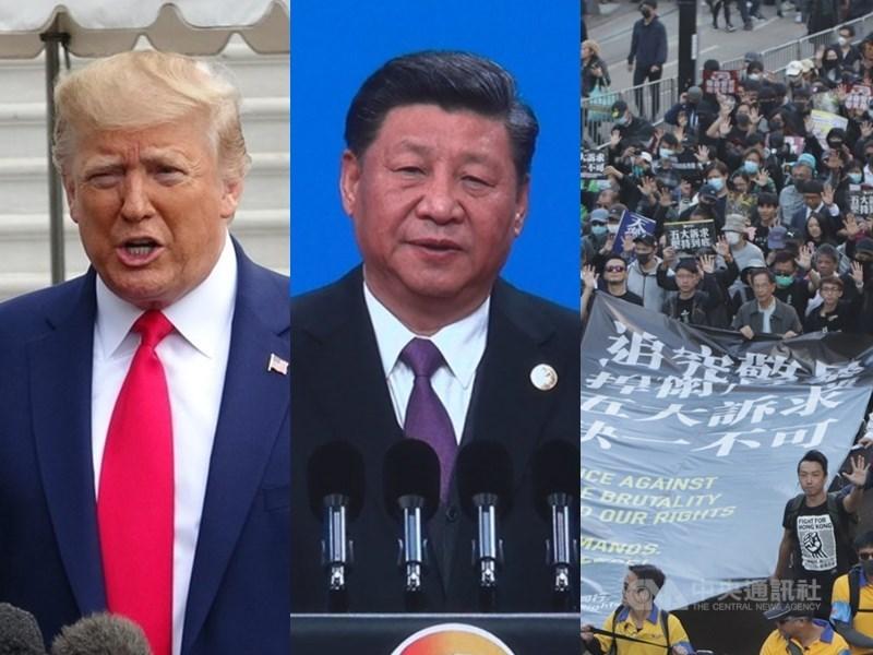 時代雜誌2019年風雲人物將於11日揭曉,根據10日揭露的決選名單,入圍者包括美國總統川普(左)、中國國家主席習近平(中)和反送中香港示威者(右)等。(中央社檔案照片)