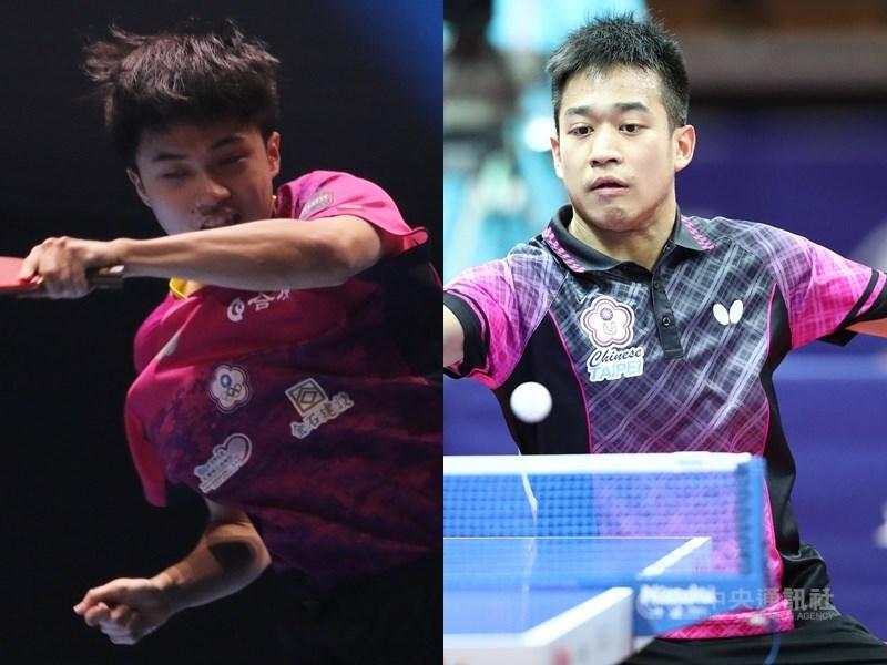 林昀儒(左)和搭檔廖振珽(右)在世界桌球巡迴賽年終賽男雙首輪,以3比1擊敗世界排名第一的南韓組合挺進4強。(中央社檔案照片)