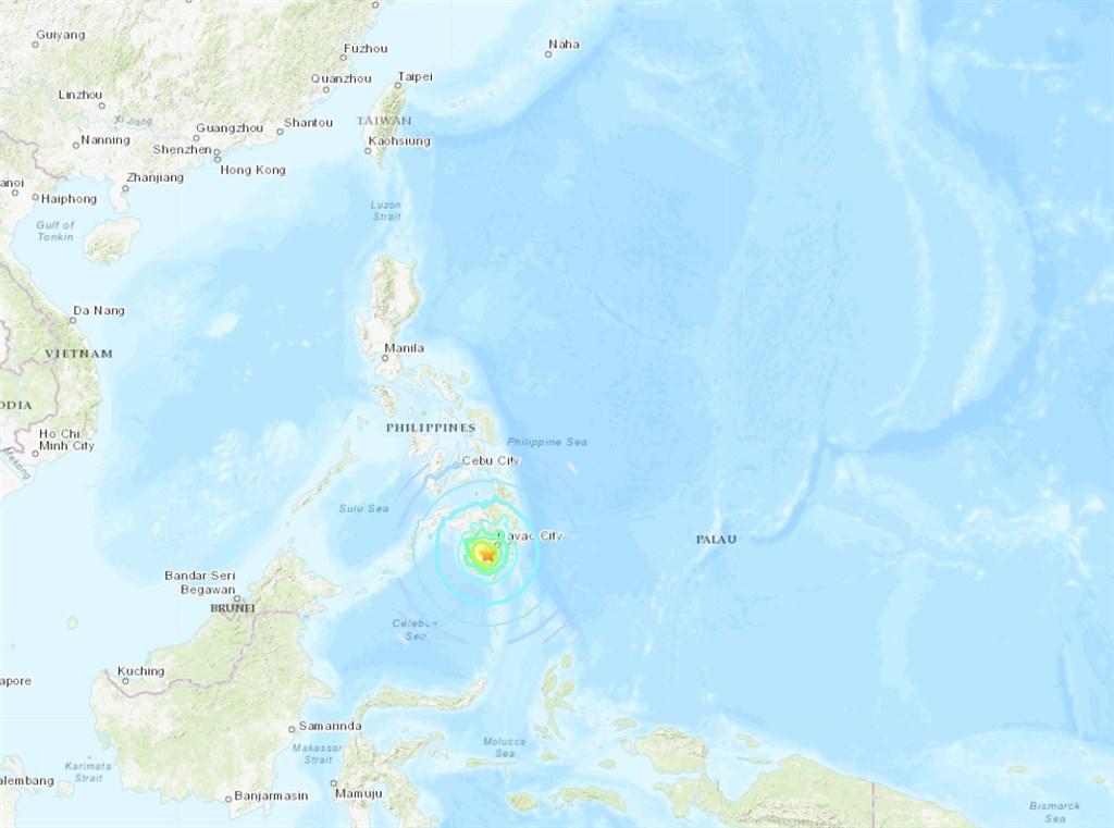 美國地質調查所表示,菲律賓南部民答那峨島15日發生規模6.8強震。(圖取自美國地質研究所earthquake.usgs.gov)