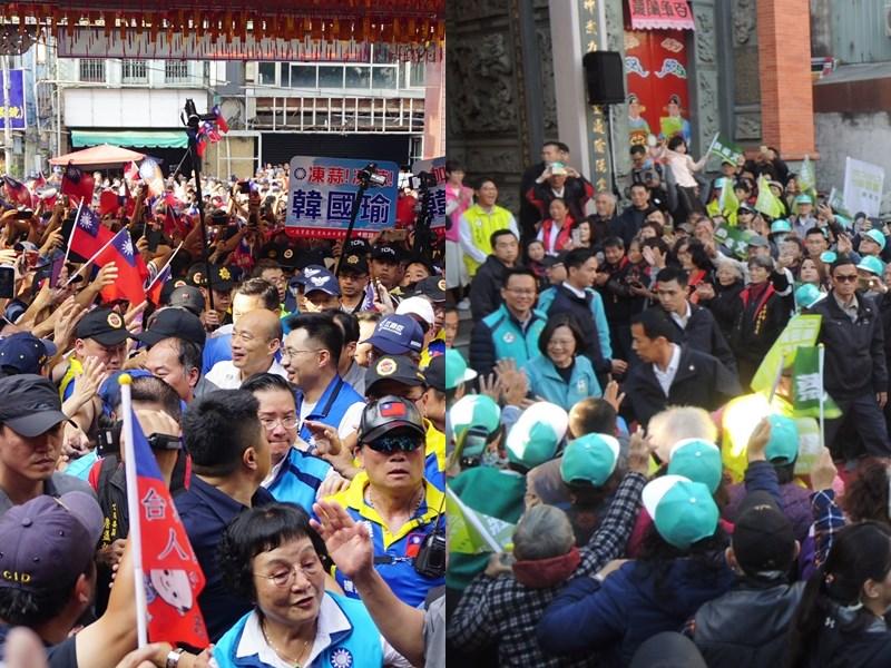 總統大選被視為搖擺區的中台灣,為兵家必爭之地,藍綠積極搶攻。(左圖為民眾提供、右圖為中央社記者郝雪卿攝 108年12月15日)
