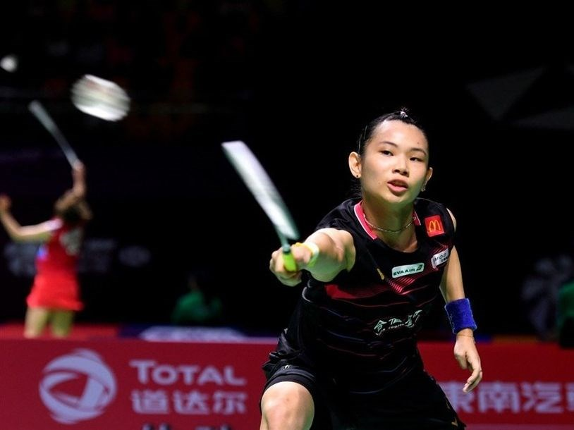 世界球后戴資穎(圖),15日在羽球世界巡迴賽年終總決賽女單決賽,以21比12、12比21、17比21不敵中國女將陳雨菲。(中央社檔案照片)