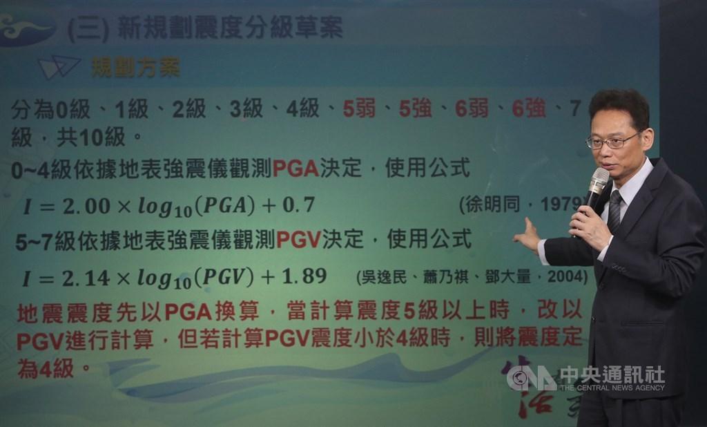 中央氣象局18日舉辦「地震新分級」記者會,氣象局地震測報中心主任陳國昌(圖)說明新分級制,將震度5級細分為「5強」「5弱」、6級細分為「6強」「6弱」,將自109年1月1日實施。中央社記者鄭傑文攝 108年12月18日