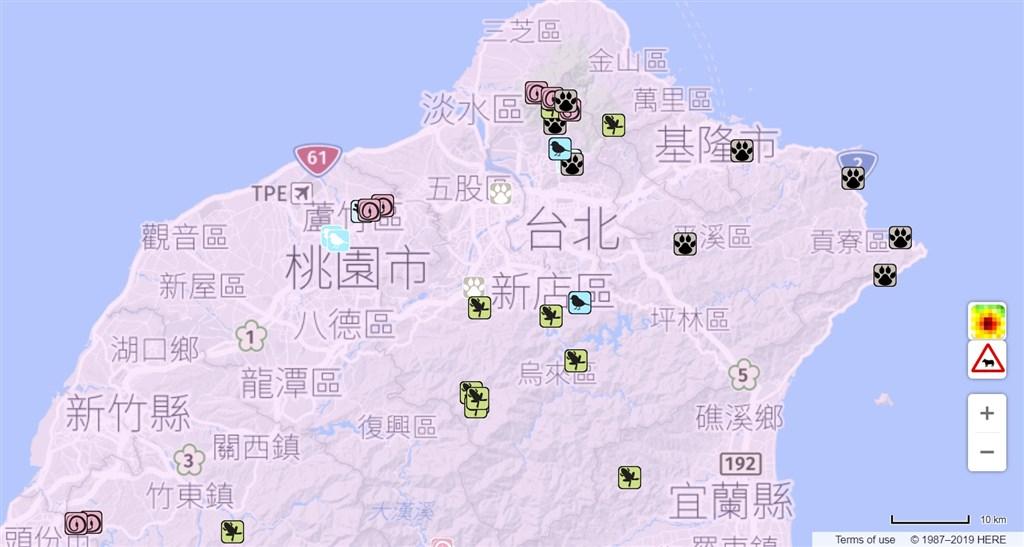 特生中心成立的路殺社與多個道路管理單位合作,費時8年匯集全台16萬筆動物路殺時空資料,歸納116個動物路殺好發路段。(圖取自百大路殺熱點路段及改善現況圖資網頁aquawill.github.io/taiwan_roadkill_map)