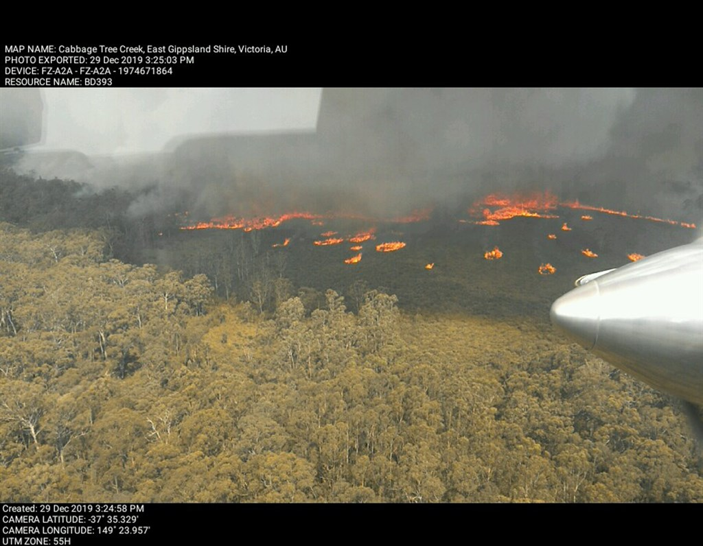 澳洲維多利亞省野火在高溫和強風助長下延燒,該省9區其中7區的火勢危險程度預計將達極端等級。圖為東吉普斯蘭地區29日野火情形。(圖取自facebook.com/FFMVic)