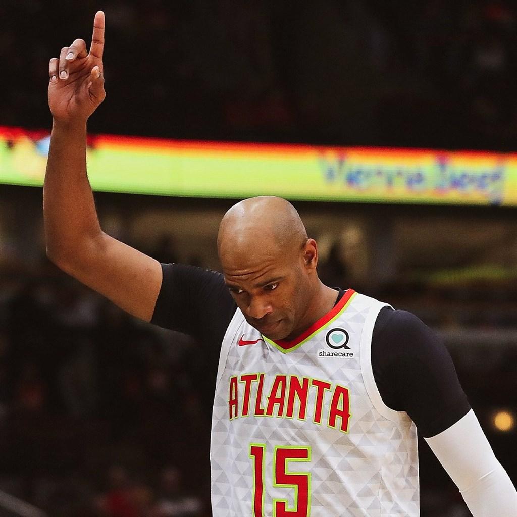 美國職籃NBA的「飛人」卡特即將成為史上第一位在1990年代、2000年代、2010年代、2020年代的4個十年都有出賽紀錄的球員。(圖取自twitter.com/ATLHawks)