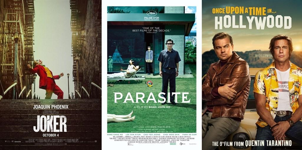 第92屆奧斯卡金像獎入圍名單13日揭曉,電影「小丑」、「寄生上流」及「從前,有個好萊塢」入圍最佳影片。(圖取自電影官方臉書或網頁facebook.com/jokermovie、parasite-movie.com、sonypictures.com)