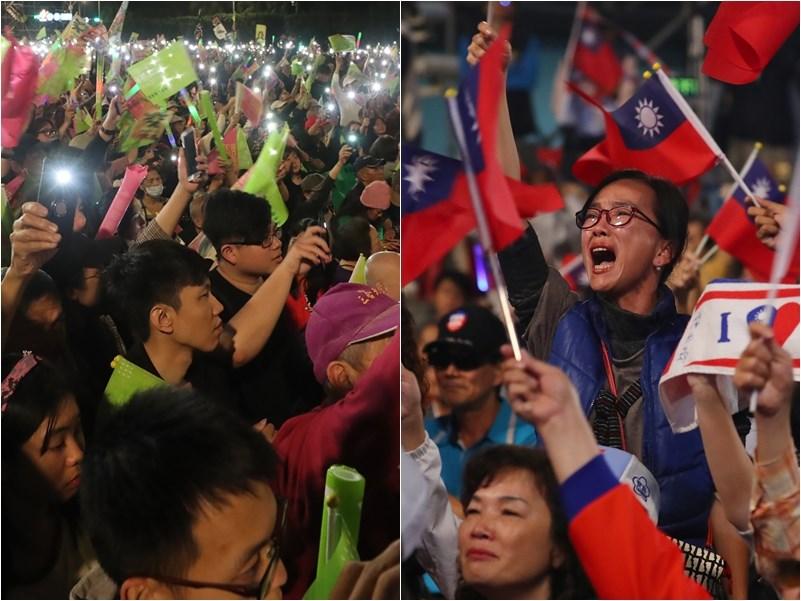2020的總統大選,被稱為是一場以年齡為區分的「世代之爭」,許多民眾家中呈現出兩個極端的政治光譜,青年與長輩間的顏色互相拉扯,他們各有主張、卻誰也不服誰。圖左為蔡英文支持陣營,圖右為韓國瑜支持陣營。(中央社檔案照片)