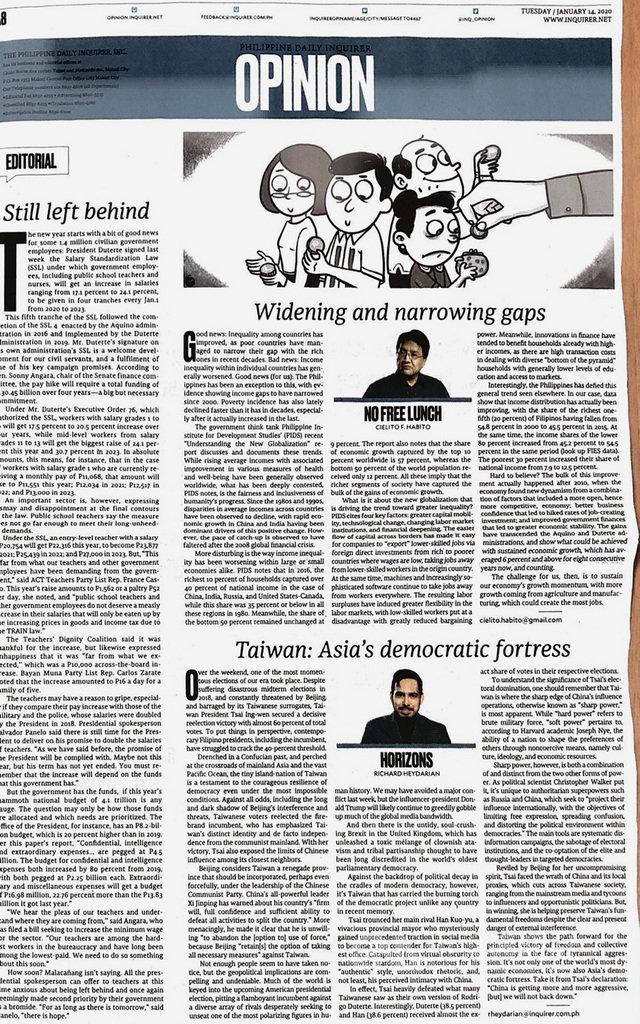 菲律賓每日詢問報(Philippine Daily Inquirer)14日刊登政治分析家海達里安(Richard Heydarian)的評論「台灣:亞洲的民主堡壘」(右下)。(駐菲代表處提供)中央社記者陳妍君傳真 109年1月15日