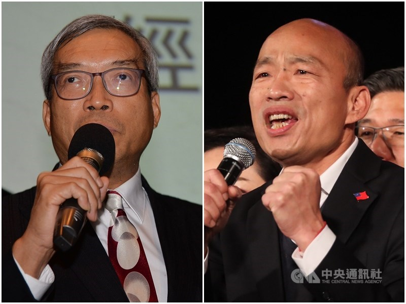 財信傳媒董事長謝金河(左)指高雄市長韓國瑜(右)以前沒喝酒睡不著。韓國瑜競選辦公室16日凌晨表示非事實。(中央社檔案照片)