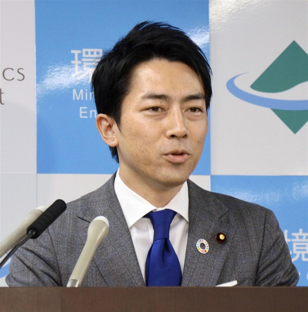 日本環境大臣小泉進次郎(圖)和妻子瀧川雅美2019年8月結婚,瀧川17日產下男嬰。(共同社提供)