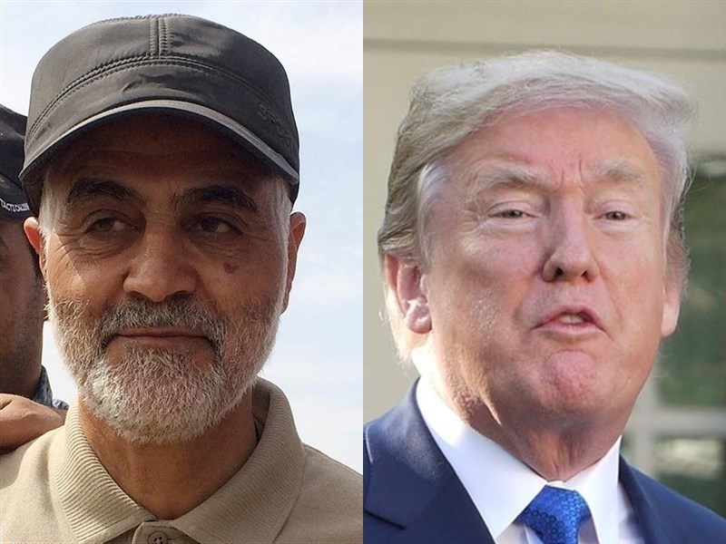美國總統川普(右)17日敘述華府以無人機,狙殺伊朗重要將領蘇雷曼尼(左)最後一刻所發生的事。(左圖為路透社提供,右圖為中央社檔案照片)