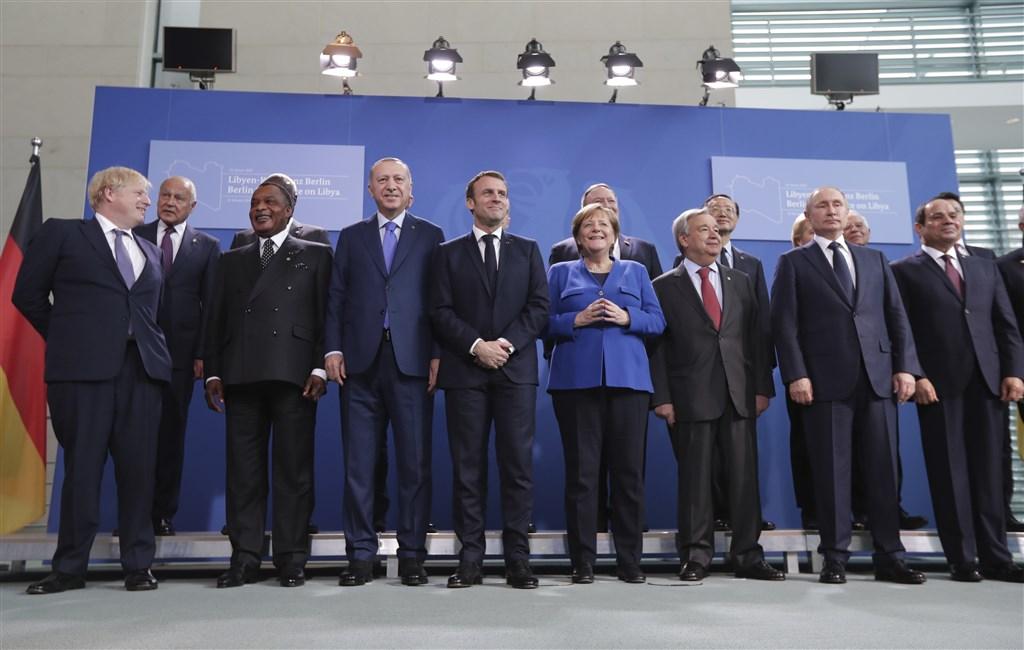 多國領袖19日齊聚德國柏林進行峰會商討利比亞內戰危機。(美聯社)