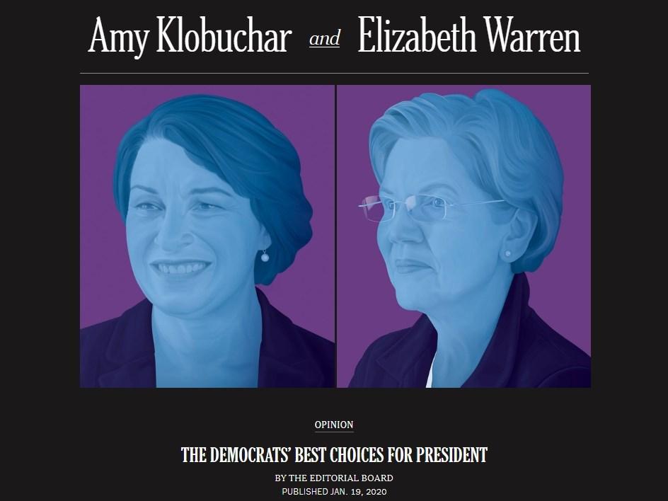 紐約時報19日表態力挺聯邦參議員克羅布查(左)與華倫角逐民主黨總統初選。(圖取自紐約時報網頁nytimes.com)