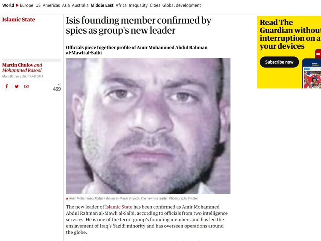 英國「衛報」20日報導,情報機構已辨認出,伊斯蘭國新首領是沙爾比。沙爾比在前首領巴格達迪身亡後數小時內獲選接班。(圖取自英國衛報網頁theguardian.com)