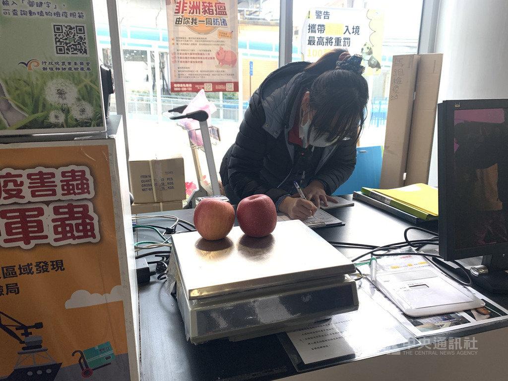 南竿一民眾21日下午搭乘小三通黃岐航線入境馬祖,被查獲背包內裝有2顆新鮮蘋果,遭罰新台幣3000元。(馬祖檢疫站提供)中央社 109年1月22日