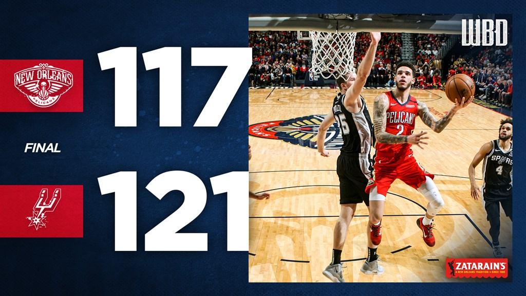 美國職籃NBA紐奧良鵜鶘怪物新秀威廉森22日傷癒歸隊,但鵜鶘仍以117比121不敵馬刺。(圖取自twitter.com/PelicansNBA)