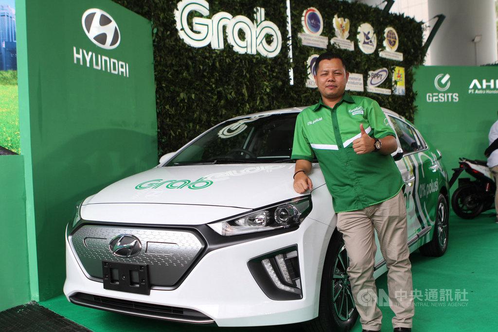 以網路叫車平台起家的超級APP提供者Grab Indonesia今年初於雅加達推出20輛與韓國現代汽車合作生產的電動車。(Grab Indonesia提供)中央社記者石秀娟雅加達傳真 109年1月27日