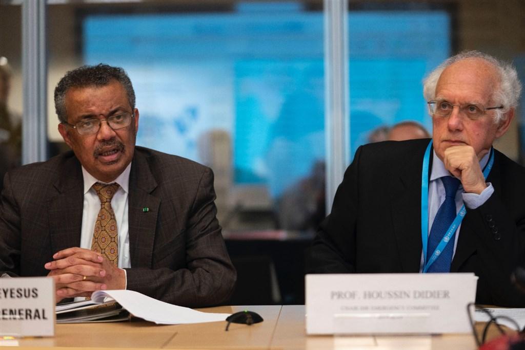 世衛秘書長譚德塞(左)30日在日內瓦召集專家再次舉行緊急會議,討論2019新型冠狀病毒是否構成「國際關注公共衛生緊急事件」,但再度排除也出現確認病例的台灣參與討論。(圖取自twitter.com/WHO)