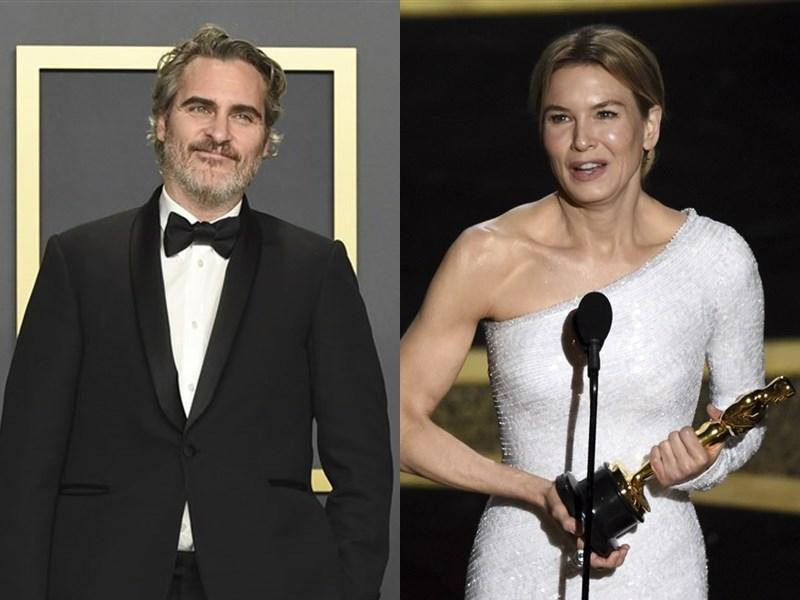 第92屆奧斯卡金像獎頒獎典禮9日在加州洛杉磯舉行,影帝、影后分別由「小丑」瓦昆菲尼克斯(左)、「茱蒂」芮妮齊薇格(右)奪下。(美聯社)