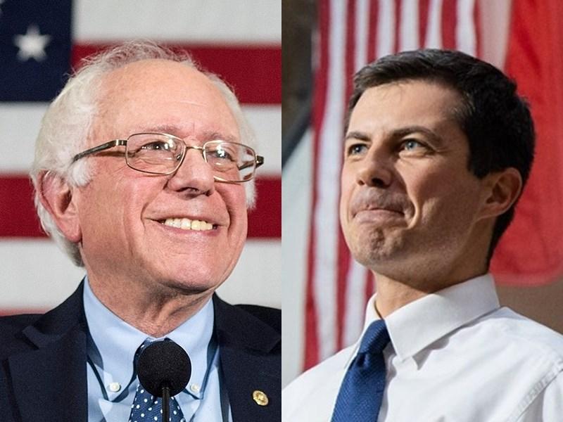 要獲得民主黨總統提名,參選人必須獲得3979張黨代表票過半的1990張。根據目前統計,印第安納州南本德市前市長布塔朱吉(右)以22張黨代表票,暫時領先排名第二的佛蒙特州聯邦參議員桑德斯(左)的21票。(右圖取自facebook.com/petebuttigieg1、左圖取自facebook.com/berniesanders)