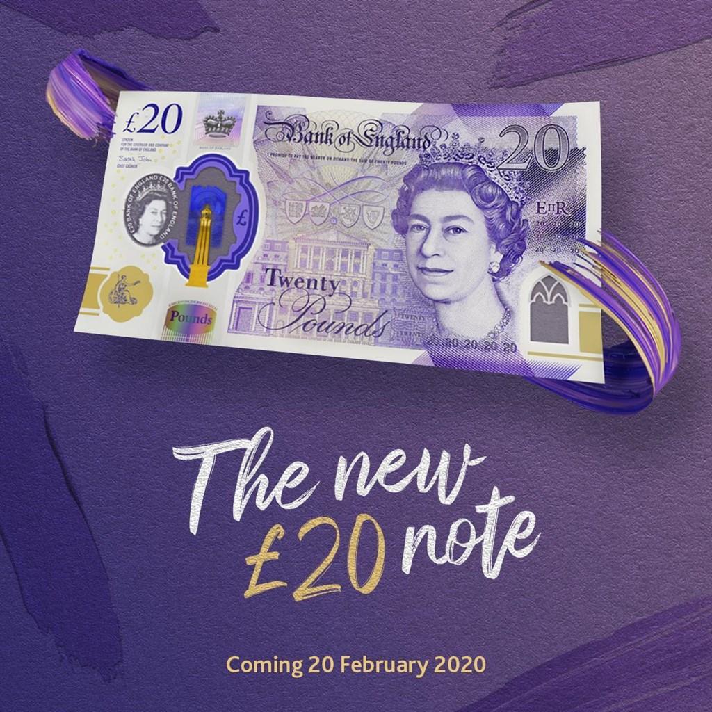 英國中央銀行「英格蘭銀行」推出新版20鎊鈔票,正面是英國女王伊麗莎白二世的肖像,20日在市面上正式流通。(圖取自facebook.com/bankofengland.co.uk)