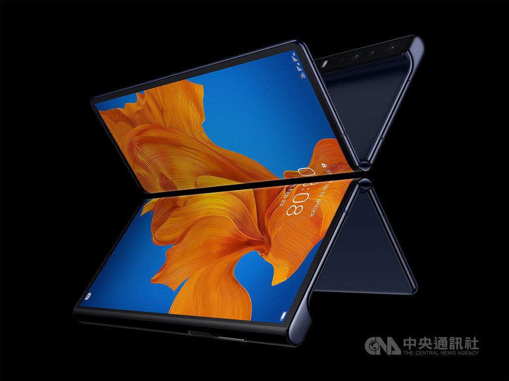 華為發表全新升級版5G摺疊手機HUAWEI Mate Xs,採用業界獨有的鷹翼鉸鏈摺疊設計,可在手機和平板模式之間切換。(華為提供)中央社記者吳家豪傳真 109年2月25日
