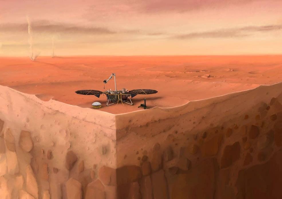 美國國家航空暨太空總署的火星探測器「洞察號」考察火星表面15個月,測量到數以百計的「火星震」。NASA表示火星震動率跟地球與月球雷同,稱火星是一直在搖晃的「活」星體。圖為「洞察號」探測火星表面示意圖。(圖取自NASA網頁www.nasa.gov)