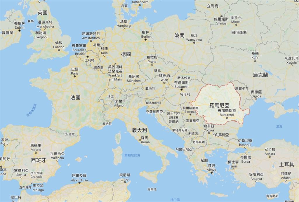 羅馬尼亞一名男子26日經檢驗為武漢肺炎確診首例,他上週曾與一名來到羅馬尼亞的義大利人接觸過。(圖取自Google地圖網頁google.com/maps)