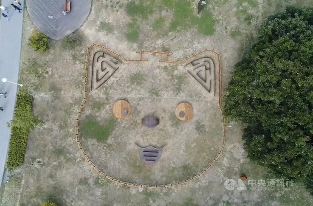 台南山上花園水道博物館打造寵物友善園區,館方巧心設計,讓此區域從高空俯瞰時呈現可愛的狗臉圖案。(台南市文化局提供)中央社記者楊思瑞台南傳真 109年2月27日
