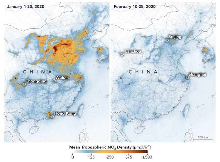 美國航太總署的衛星圖可以看出,今年大氣中的二氧化氮濃度有所降低。這種現象正好出現在中國工廠運作前所未有地減緩的時刻。(圖取自NASA網頁earthobservatory.nasa.gov)