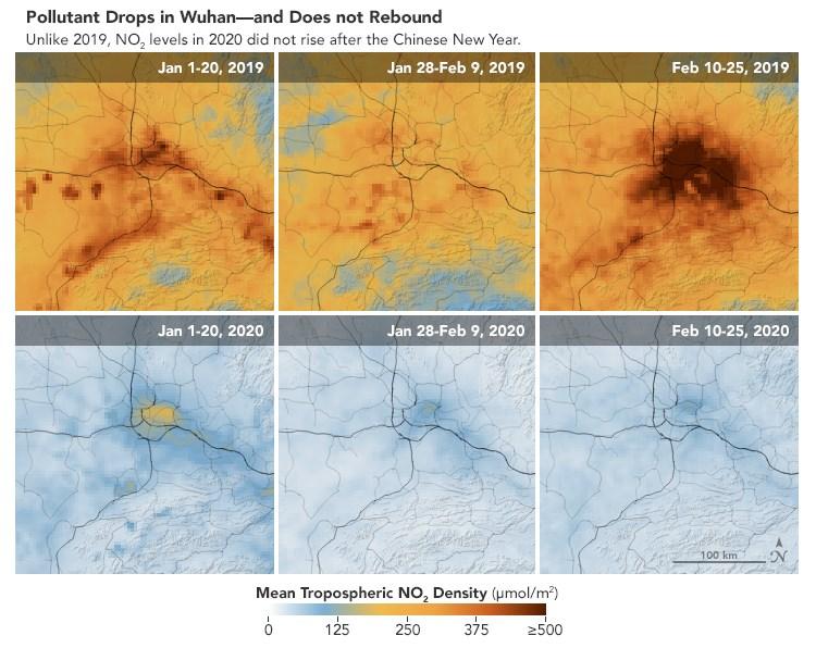 美國航太總署拿2019年1、2月與今年同期相較,發現空氣汙染降低,正好與中國政府採取運輸及商業活動限制、隔離數百萬人的措施同時發生。(圖取自NASA網頁earthobservatory.nasa.gov)